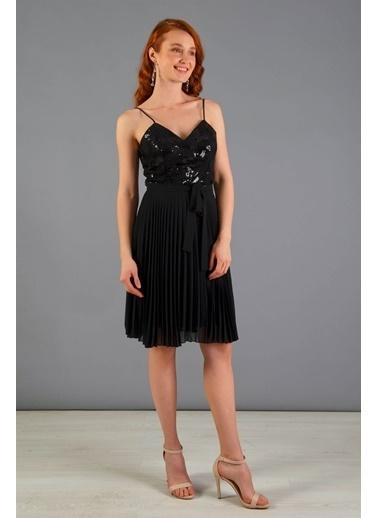 Carmen Payet Işlemeli Kurdelalı Kısa Mezuniyet Elbisesi Siyah